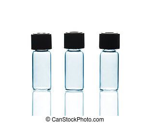 Empty Vials with and reflections, isolated on white...