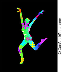 flower power - vector illustration of a dancing woman...