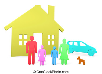 Abstract family stands in front of their house and car