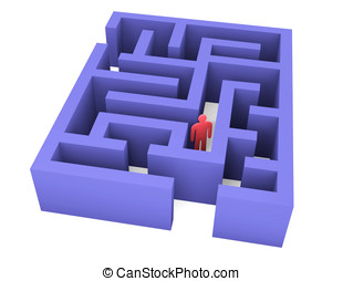 Abstract man can not get out of the maze