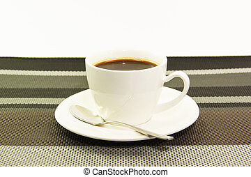 A Cup of coffee set - White ceramic cup of black coffee on...