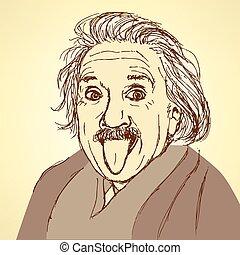 Sketch Albert Einstein in vintage style, vector
