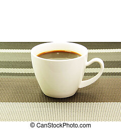Espresso in white cup on tablemat - Fresh cup of coffee on...