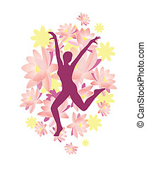 lotus woman - vector illustration of a woman silhouette on a...