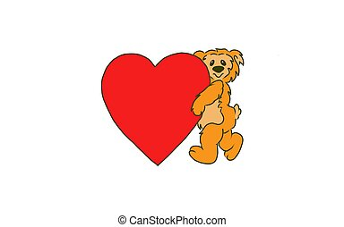 Bear holding a big red heart. - Illustration of a bear...