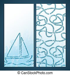 Nautical flayers with seafaring elements - knots and rope...