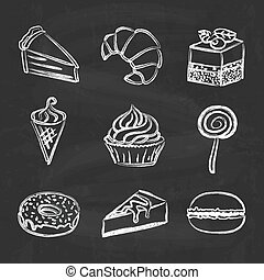 Hand drawn icon set - sweets and cakes on chalkboard...
