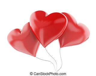 3d red heart balloons, valentine's day concept  isolated on whit