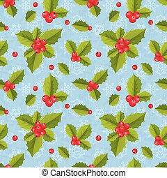 Seamless geometric tiling pattern with holly