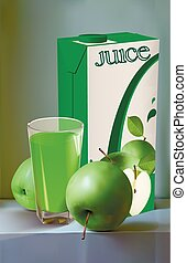 juice of apples - Still life of green apples Apples package...