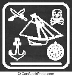 Pirate icons - sloop, cutlassand Jolly Roger - Pirate icons...