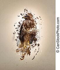 Falcon, abstract animal concept - Falcon on the branch,...