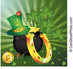 st patrick%u2019s day - Gold Goblin. Cap of elf. Golden...