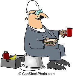 Lunch Break - This illustration depicts a construction...