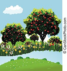 Landscape apple orchard - Apple landscape Apple garden River...