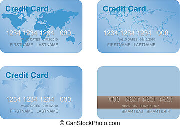 Design of a credit card. Three variants and underside....
