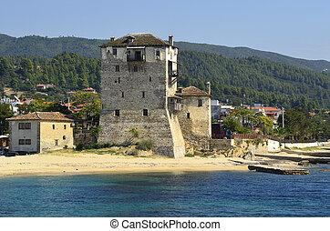 Greece, Athos Peninsula,Ouranoupoli, Prosphorios tower