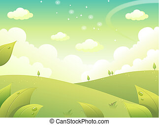 Landscape - One landscape in a camp green on a blue sky more...