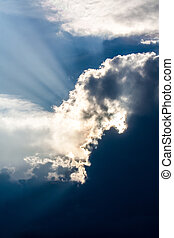 Clouds - Sun is shining behind very dark clouds