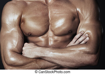 cuerpo, de, muscular, hombre,