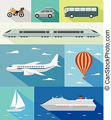 Transportation flat icons - Various types of transport: car,...