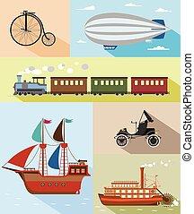 Vector illustration of vintage means of transportation - Set...