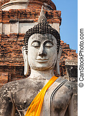 Ancient Buddha at Wat Yai Chaimongkol, Ayutthaya - Buddha...