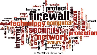 Firewall word cloud concept Vector illustration