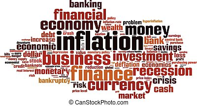Inflation word cloud concept. Vector illustration