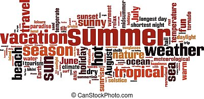 Summer word cloud concept Vector illustration