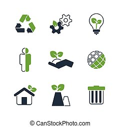 Ecology simple vector icon set - nature, industry, balance,...