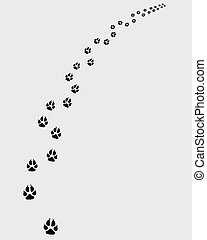 Trail of dogs, turn right, vector illustration
