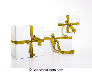 branca, PRESENTE, caixa, com, agradável, Fita,