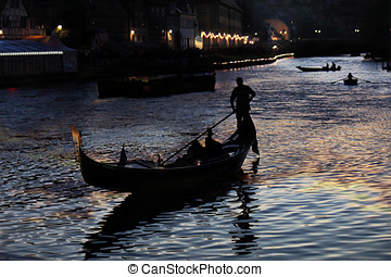 Gondolas at night - Grand Canal at night