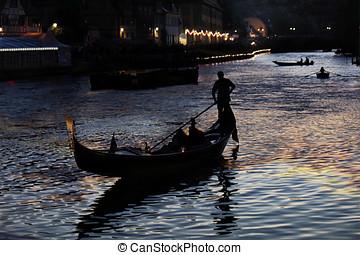 Gondolas at night - Grand Canal at night