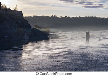 Misty Danube River Sunrise - Misty Winter Morning Danube...