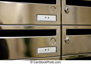 Entrance hall metallic mailbox placed in a residential...