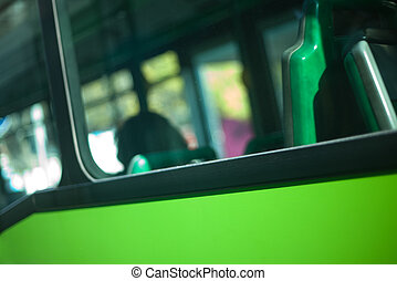 Blurred bus window