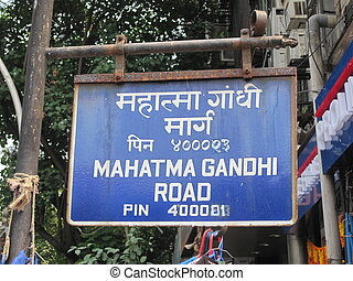 Mahatma Gandhi Road sign in Mumbai, India
