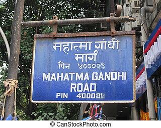 Mahatma Gandhi Road sign in Mumbai, India