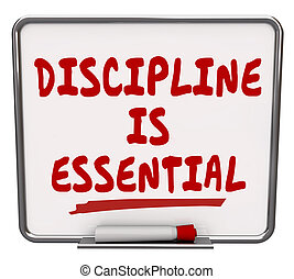 Discipline is Essential Words Dry Erase Board Commitment...