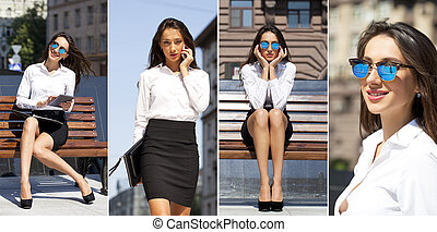 Business woman with blue mirrored sunglasses - Collage Young...