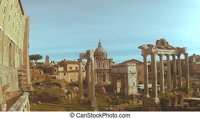 View of the Roman Forum from Capitol Hill in sun light