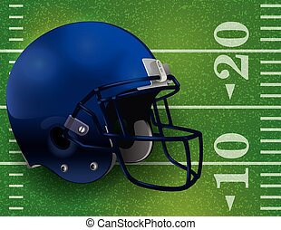 American Football Helmet on Field Illustration - An American...