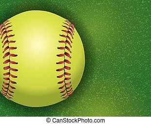Softball on a Textured Grass Field Illustration - An aerial...