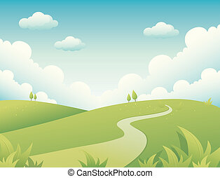 landscape - One landscape in a camp green and road on a blue...