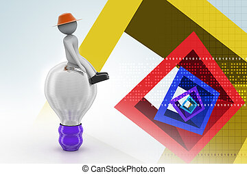 3d small person sitting on a light bulb