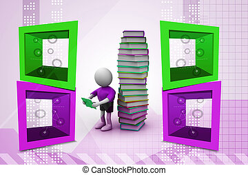 3d man reading book