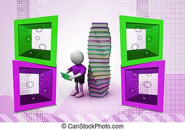 3d man reading book