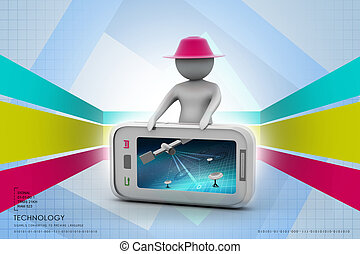 3d man standing with smart phone